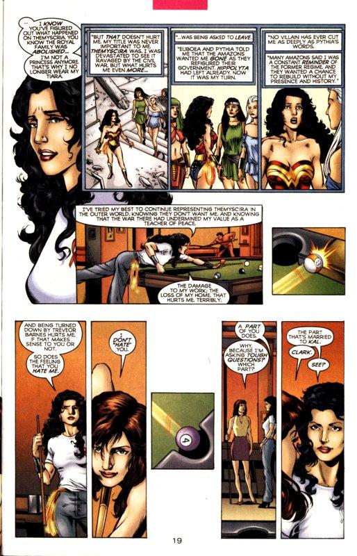 Página de Wonder Woman #170, por Phil Jimenez e Andy Lanning. Lois Lane confronta Diana Prince sobre medos e inseguranças.